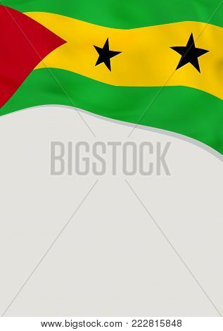 Leaflet design with flag of Sao Tome and Principe. Vector template.