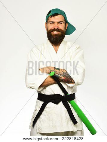Japanese Martial Arts Concept. Taekwondo Master With Black Belt