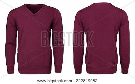 Blank template mens burgundy sweatshirt long sleeve, front and back view, isolated on white background with clipping path. Design red pullover mockup for print.