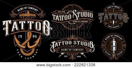 Set of vintage tattoo emblems, logo, badges, shirt graphics. Tattoo lettering illustration. All elements, text are on the separate layer. (VERSION FOR DARK BACKGROUND).