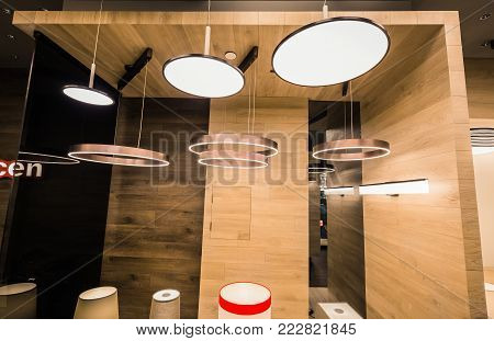 Vaughan, Ontario, Canada, Home improvement center, Dec. 9, 2017, beautiful amazing warm view of many various, stylish modern interior decorative floor and ceiling electrical lights
