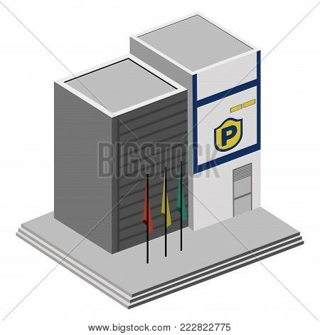 3d view of a police station, Vector illustration