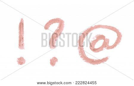 Set of exclamation point, question mark and at internet symbols written with a crayon isolated over the white background