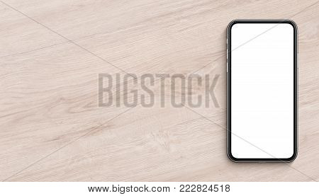 Smartphone similar to iPhone X mockup lying on wooden office desk. Banner with copy space. 3D illustration.