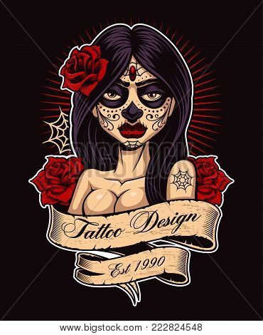 Chicano tattoo girl. Tattoo design, perfect for print on shirt. All elements, text, colors are on the separate layer and easy editable. (COLOR VERSION ON DARK BACKGROUND).