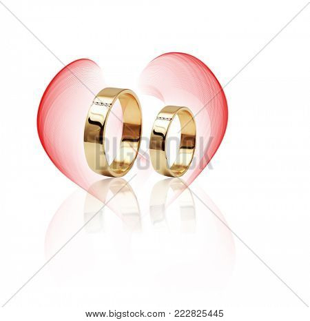 Diamond ring isolated on white background. Ring with three diamonds. Golden wedding rings.