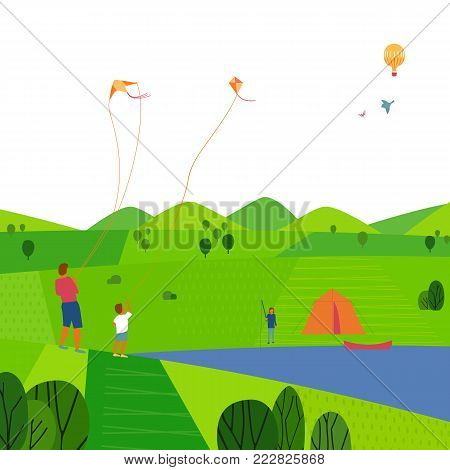 Green valley landscape. Colorful cartoon nature scene. Summer season family weekend. Vacation leisure activity. Fishing, kiting on river. Father son with kites on lake. Vector countryside background