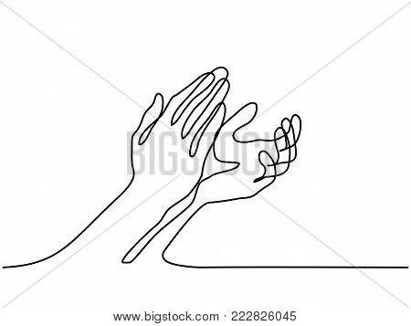 Continuous line drawing. Clapping hands with applause. Vector illustration