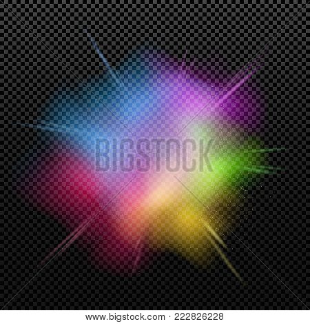 Explosion of colors is isolated on a transparent background. Multicolor splatter. Happy Holi. Holiday of colors. Colorful dust. Vector illustration