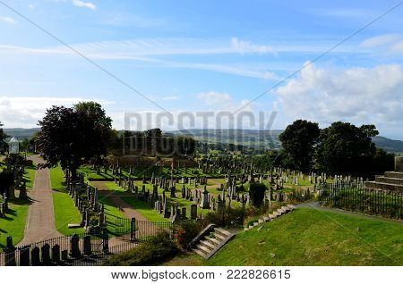 Large scottish cemetery in the highland countryside