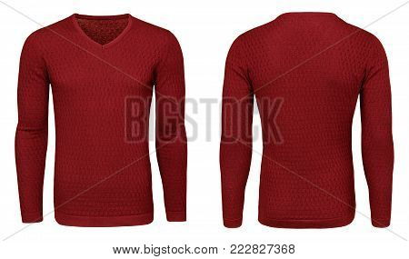 Blank template mens red sweatshirt long sleeve, front and back view, isolated on white background with clipping path. Design pullover mockup for print.