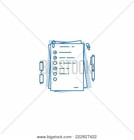 Pile of documents, a4 format with to do tasks and complete check marks. Agenda on paper concept. Office paper work and daily tasks.