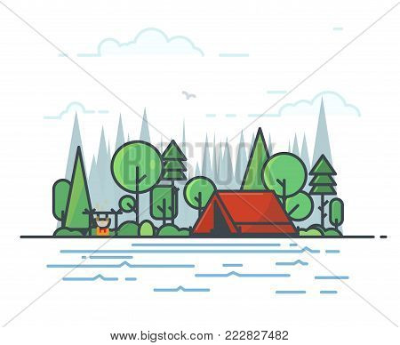 Camping tent in the deciduous forest. Campfire with sticks and bowler boiling on fire. Green trees, fir-tree and spruce. Clouds and big forest on background, river or lake on foreground. Line vector.