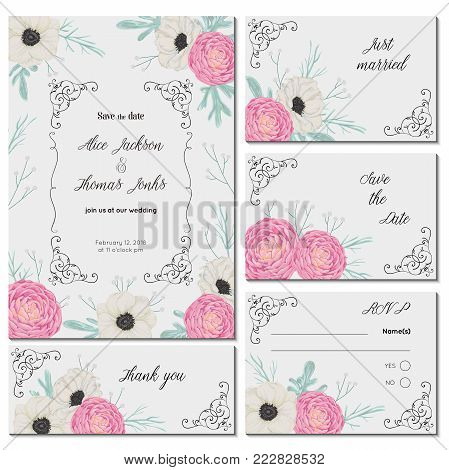 Save the date card with pink camellias, white anemone flowers, dusty miller and gypsophila. Holiday floral design for wedding invitation. Vintage hand drawn vector illustration in watercolor style