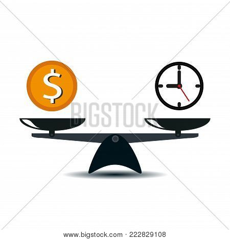 Time and money scales icon. Money and time balance on scale.
