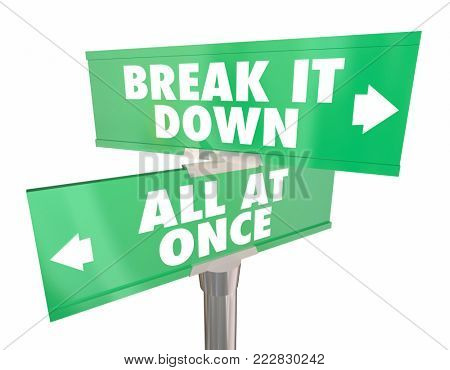 Break it Down Vs All at Once Two Way Road Signs 3d Illustration