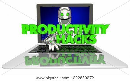 Productivity Hacks Robot Laptop Computer 3d Illustration