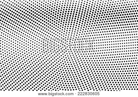Black white dotted halftone. Half tone vector background. Smooth horizontal dotted gradient. Abstract monochrome texture. Black ink dot on transparent backdrop. Pop art dotwork. Retro design template