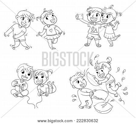 Children spend leisure time fun. Children to make selfie together with mobile device. Boy and girl playing video games. Dancing to music. Children fight with pillows. Funny cartoon character