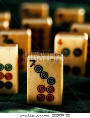 Lucky Number Seven Mahjong Piece Standing Tall
