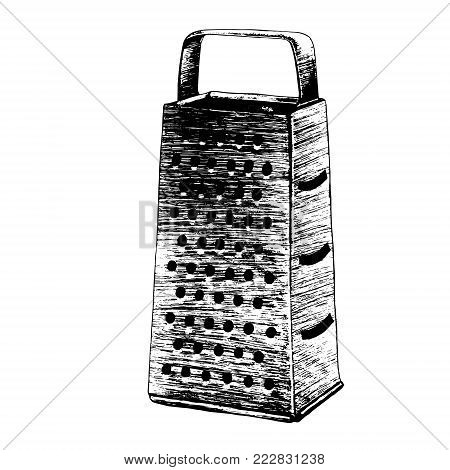Grater hand drawn kitchen and cooking illustration. Vector on white background
