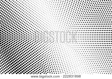 Black white shiny dotted gradient. Half tone vector background. Greyscale dotted halftone. Abstract monochrome texture. Black ink dot on transparent backdrop. Pop art dotwork. Retro design