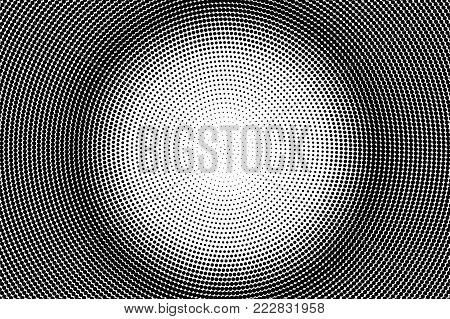 Black white dotted halftone. Half tone vector background. Greyscale circle dotted gradient. Abstract monochrome texture. Black ink dot on transparent backdrop. Pop art dotwork. Retro design template
