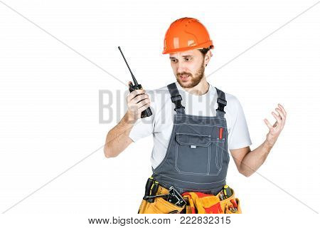 The Builder Talks, Swears On Thewalkie-talkie. Isolated On White Background