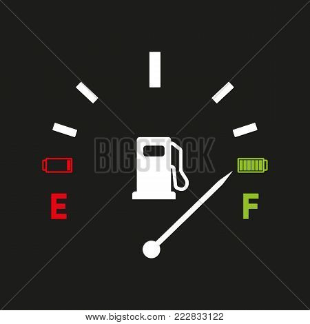 Fuel gauge. Full tank indication. Vector illustration isolated on gray background eps10