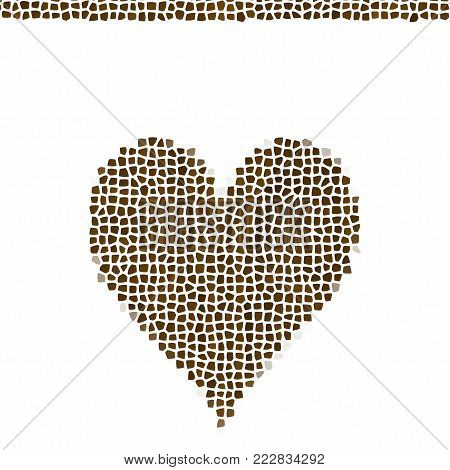 Mosaic heart with mosaic line stripe, brown stony love decor template image