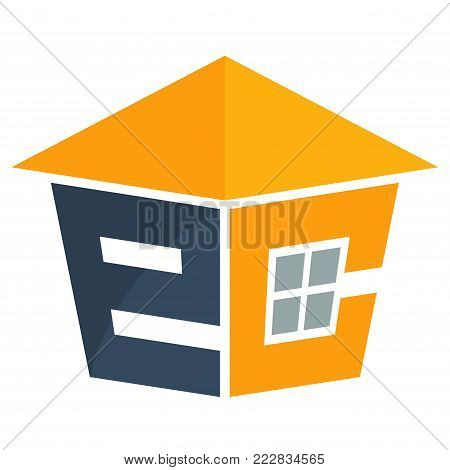 Icon logo for the construction services business development, with a combination of initials letter E & C