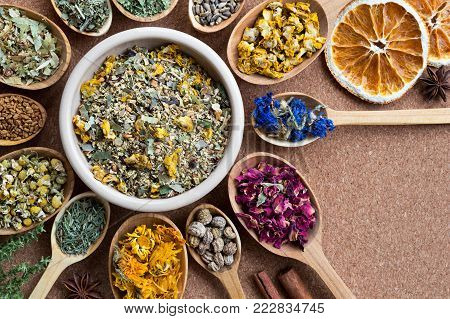 Mix of dried herbs on wooden spoons with copy space, top view. Mullein, cornflower, rose petals, nasturtium seeds, calendula, horsetail, chamomile, fenugreek seeds, tilia, milk thistle seeds.