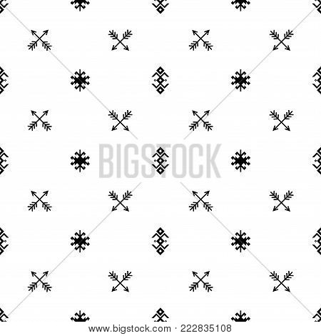 Seamless Indian pattern vector arrows and USA Native American type geometric ethnic tribal ornaments black and white background design retro vintage bohemian boho style icon