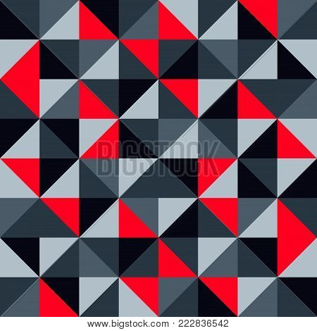 Seamless geometric pattern vector background abstract modern contemporary design art with colorful mosaic like fitted triangles