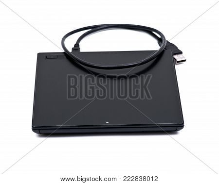 Black ultra thin smart powered portable, external cd, dvd reader writer