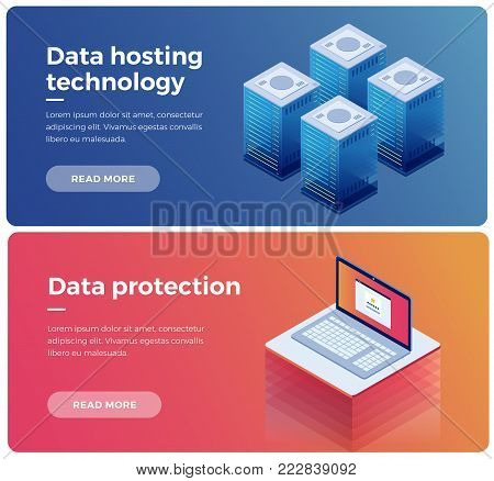 Internet equipment industry. Data transmission technology and data protection. Illustration of network telecommunication server. Protecting your personal information. 3d isometric flat design.