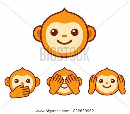Cute cartoon monkey face icon. Three wise monkeys with hands covering eyes, ears and mouth: See no evil, hear no evil, speak no evil. Simple vector emoji illustration.