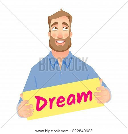 Happy young businessman dreaming. Man holding dream sign. Business communication icon