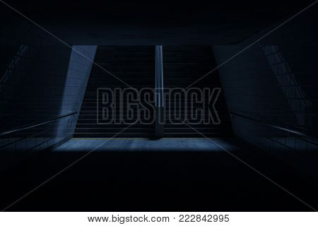 3d rendering of darken underpass with staircase at night