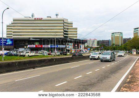 Kota Kinabalu,Sabah-Dec 13,2017:View of Kota Kinabalu city with street and buildings in Kota Kinabalu,Sabah.Kota Kinabalu City is hub for islands,resorts,award winning sunsets & Mount Kinabalu.