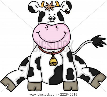 Scalable vectorial representing a cute cow sitting, illustration isolated on white background.