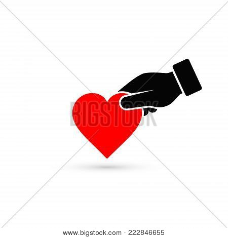 Hand gives heart icon in flat style. Giving love concept, donate concept.
