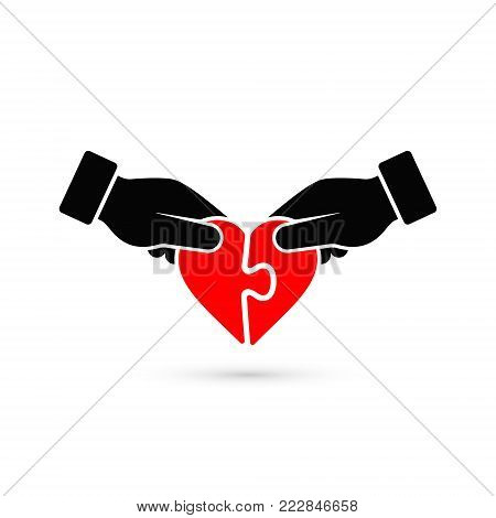Man and woman handing joining puzzle pieces of heart icon. Vector love illustration. Donation or autism concept.