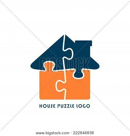 House Puzzle Logo, Jigsaw Home illustration. Vector flat style logotype.