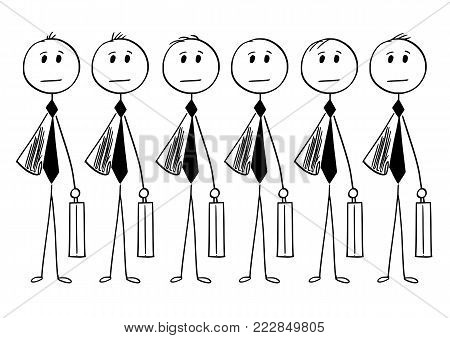 Cartoon stick man drawing conceptual illustration of crowd of identical businessman or clerk clones produced in mass without personality. Business concept of bureaucracy and mediocrity.