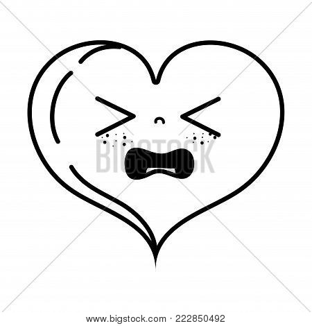 line gaudy heart love kawaii cartoon vector illustration