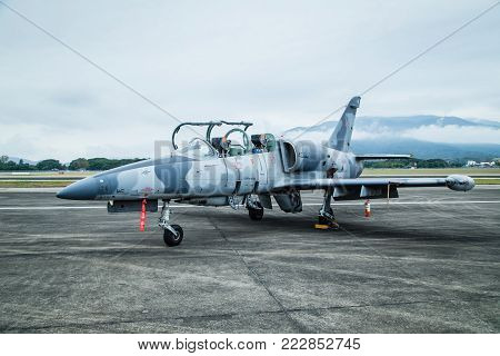 Chiang Mai, Thailand-January 13, 2018 : Thai air force showed F-5E fighter plane in children's day at Chiang Mai airport