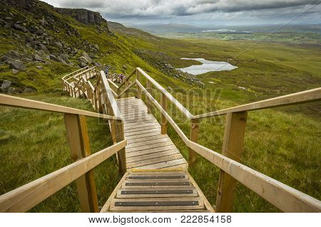View Of The Stairway To Heaven At Cuilcagh Mountain From The Top