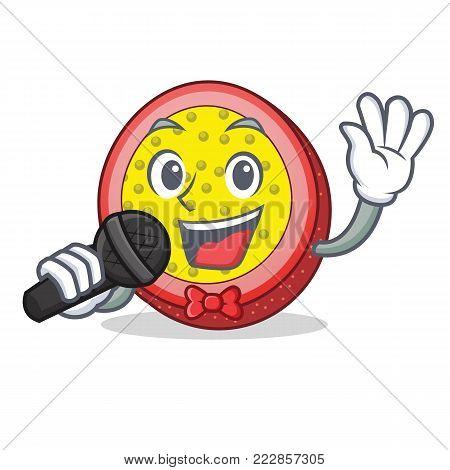 Singing passion fruit mascot cartoon vector illustration