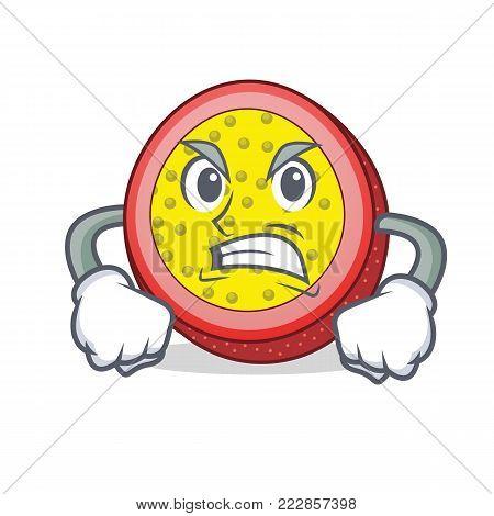 Angry passion fruit mascot cartoon vector illustration
